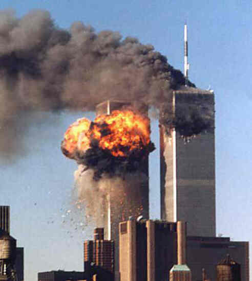 World Trade Center building on fire on 9/11/2001