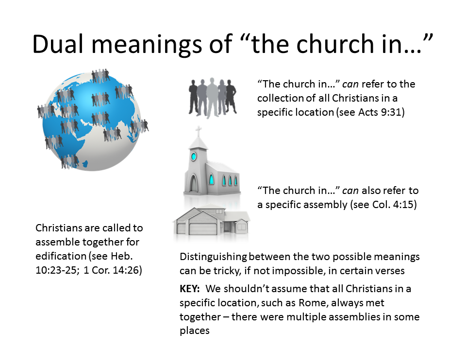"In Scripture, the phrase ""the church in"" has two meanings."