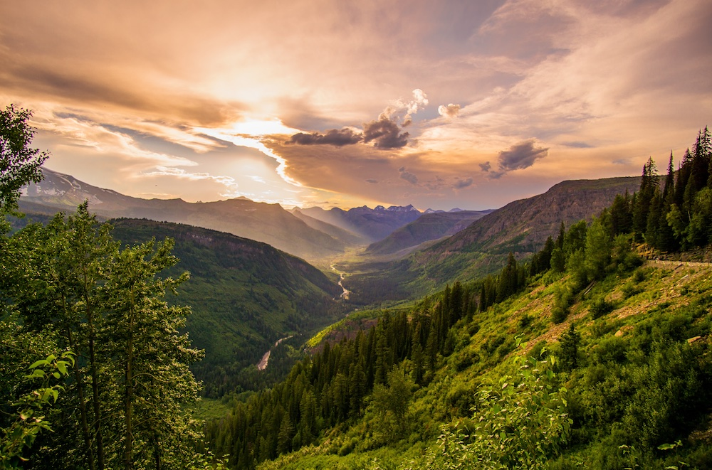 beautiful mountain valley with sunset