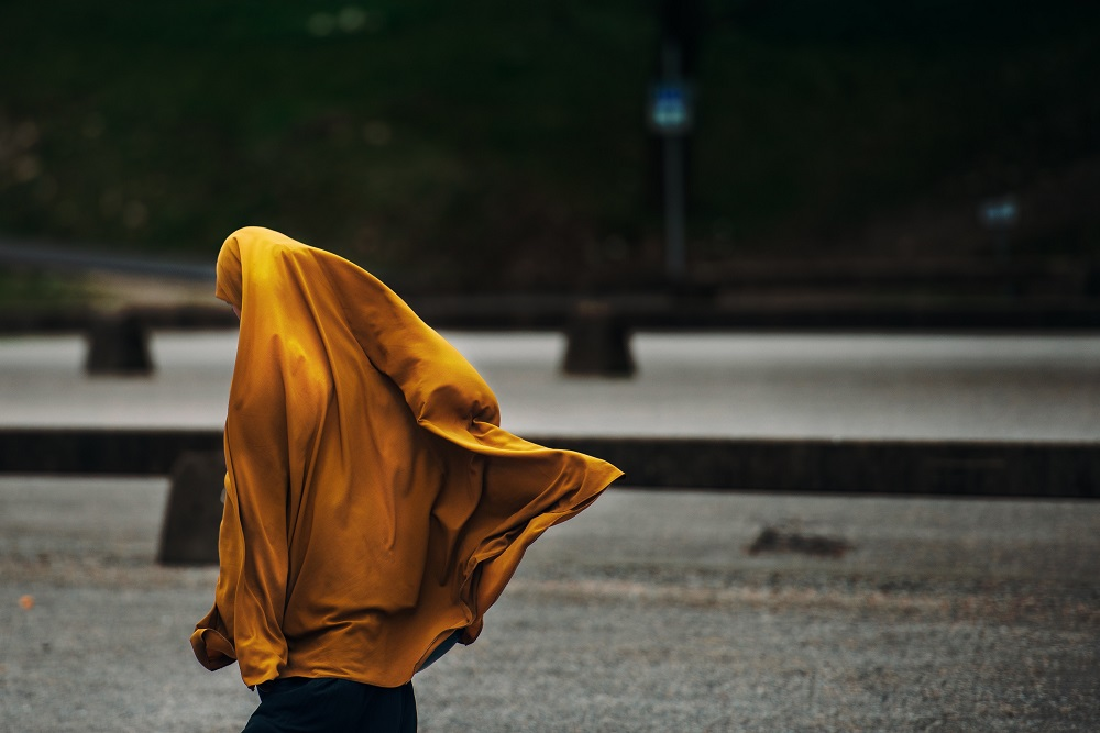 woman wearing veil hijab